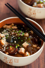 Miso soup with tofu, wakame seaweed, noodles shirataki