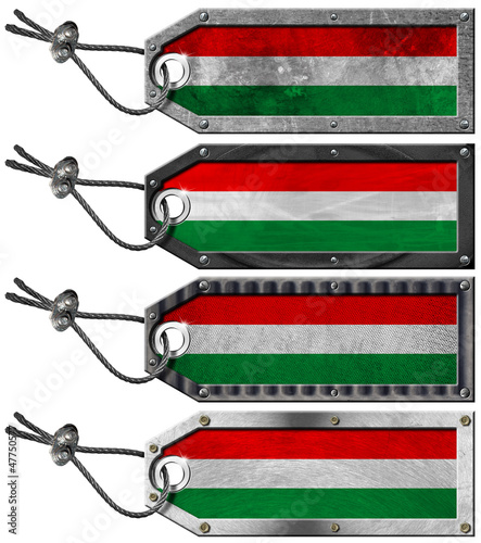 Hungary Flags Set of Grunge Metal Tags