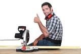woodworker using circular saw