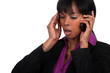 Office worker receiving bad news over the telephone