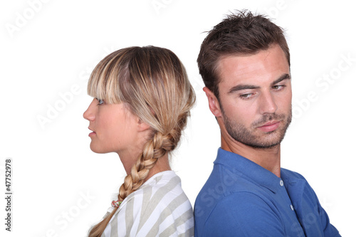 Couple in a mood with one another