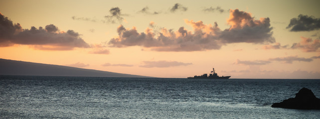 Us Navy Ship at Sunset