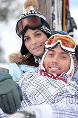 Couple in ski holidays