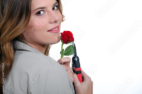 Women cut flower