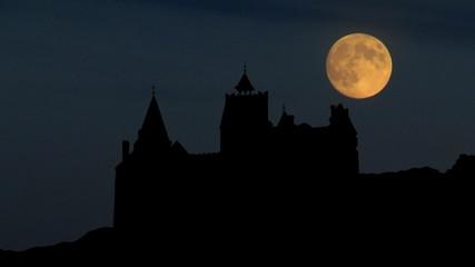 Romania Castle of Bran during moonrise