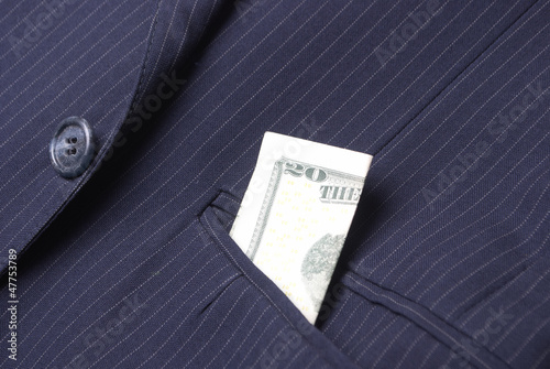 Pinstriped Suit Jacket With Twenty Dollar Bill in Pocket