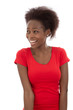 Lachende afrikanische Frau in Rot