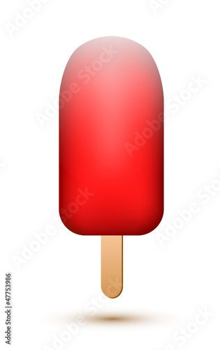 Red ice lolly on white