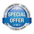 special offer blue silver button