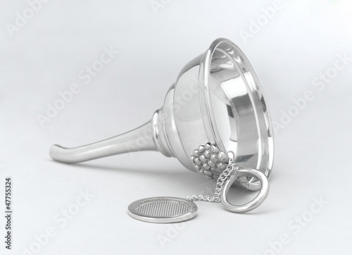 wine funnel decorated by pewter designed in grape shape