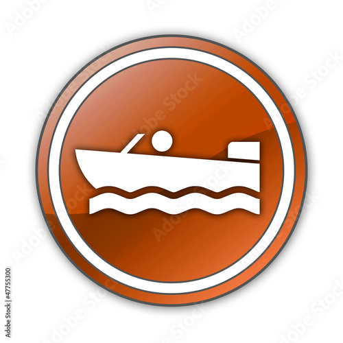"Orange Glossy Button ""Motorboating"""