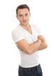 Lässiger junger Mann isoliert weiß mit T-shirt