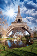 Paris. Gorgeous wide angle view of Eiffel Tower in winter season