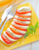 caprese, fresh salad with tomato and mozzarella
