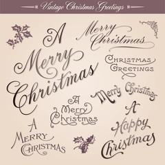 Vintage calligraphic Christmas greetings, vector