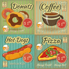 set of Retro Menu Cards