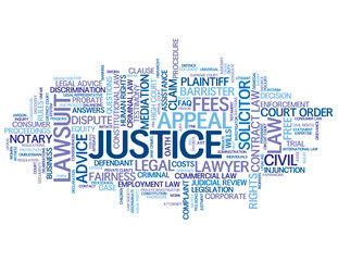 JUSTICE Tag Cloud (law court judge trial tribunal advice rights)