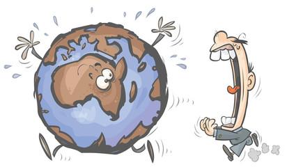 Cartoon Earth chased by Greedy Man.