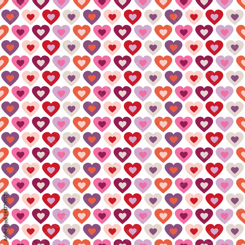 Seamless Pattern Hearts In Hearts Retro White