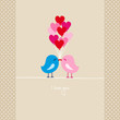 Two Birds Kissing Heart Balloons Retro