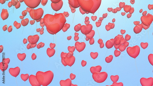 red balloons with heart shape fly away