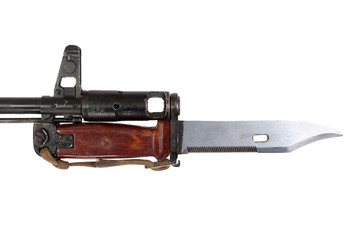 bayonet on kalashnikov ak isolated on white background