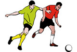 two athletes footballers playing football rivalry poster