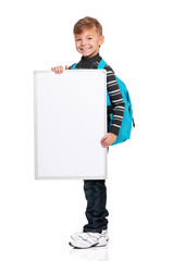 Boy with white board