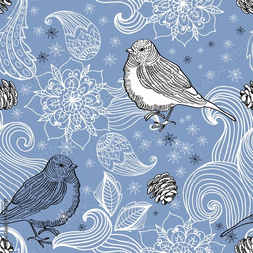 Seamless doodle background bird and floral elements