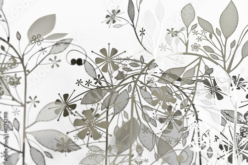 Abstract Floral Background wit Leaves © goanovi