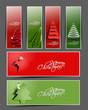 Modern christmas tree banner illustration design,