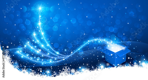 Christmas background with magic box and Christmas Tree