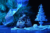 Blue Christmas collage