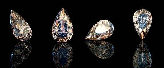 Jewelry gems on black background. Pear.