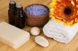 Natural body care: organic soap, lavender sea salt, aroma oils