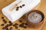 Homemade skin exfoliant/ scrub of ground coffee and sour cream poster