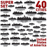 Fototapety Incredible city skyline set. United States of America.