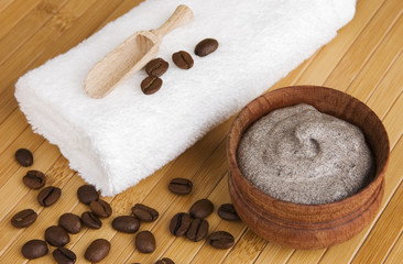 Homemade skin exfoliant/ scrub of ground coffee and sour cream
