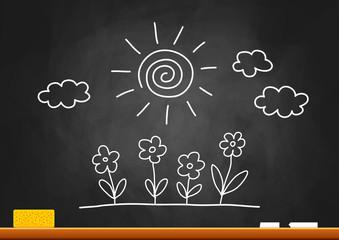 Drawing of sun and flowers on blackboard