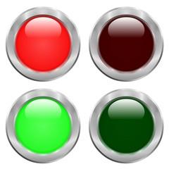 Boutons rouges, vert, allumés, éteints