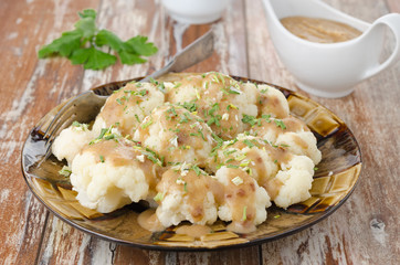 boiled cauliflower with sauce