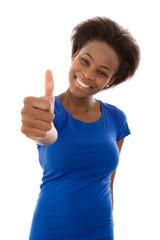 Junge Afrikanerin in Blau ist glücklich