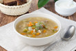 Russian soup rassolnik with chicken gizzards and barley