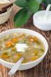 Russian soup rassolnik with sour cream