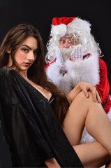Santa is Shocked by Sexy Woman