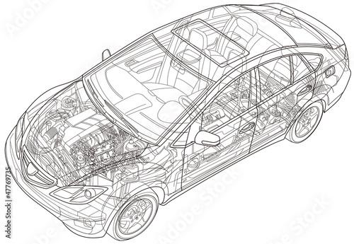 自動車の透視線画