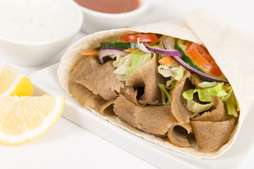 Donner Kebab Wrap: Donner meat, salad & sauce in a flatbread