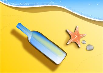 Bottiglia con messaggio su spiaggia vector
