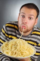 man and pasta