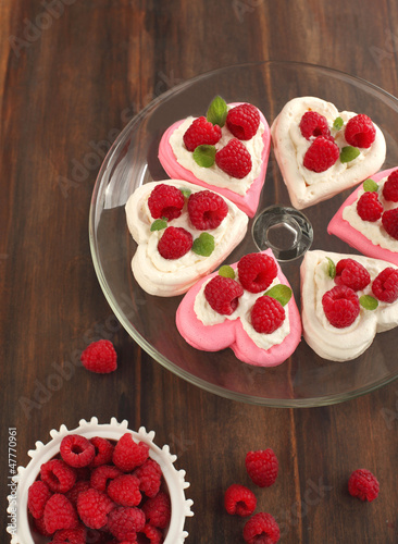 Heart Shaped Pavlova with Raspberries